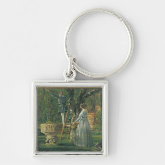 Garden in Ringsted with a Ancient Baptismal Silver-Colored Square Key Ring