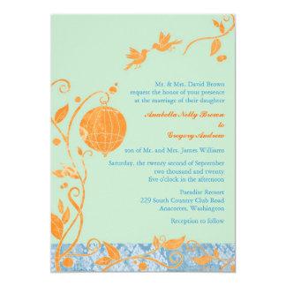 "Garden Love Birds Cute, Romantic Wedding Invites 5"" X 7"" Invitation Card"