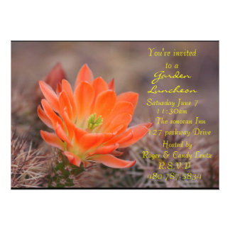 Garden luncheon cactus flower invitations