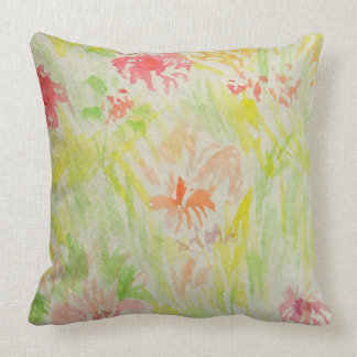 Garden Pretty Watercolor Pastel Floral Decor Throw Pillow