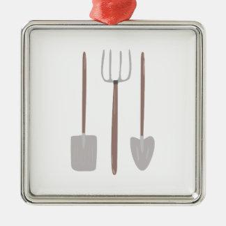 Garden Tools Silver-Colored Square Decoration