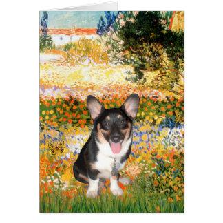 Garden (VG) - Welsh Corgi (tri Pembroke pup) Card