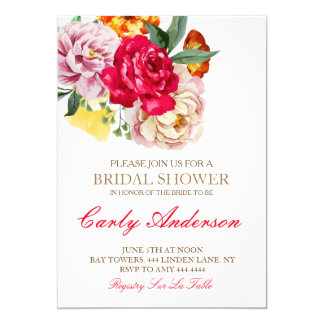 Garden Vintage Rose Bridal Shower Invitations