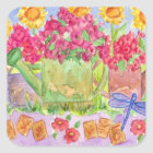 Garden Watering Can Flower Summer Bouquet Square Sticker