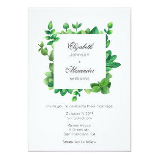 Garden wedding outdoor invitation. Green invite