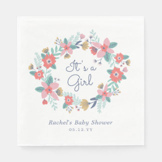 Garden Wreath Baby Shower Paper Serviettes