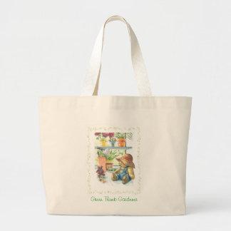Gardener Teddy Bear Large Tote Bag