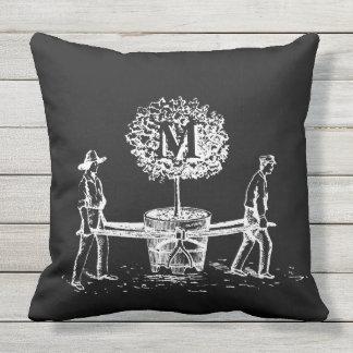 Gardeners and tree Monogram Outdoor Pillow 2