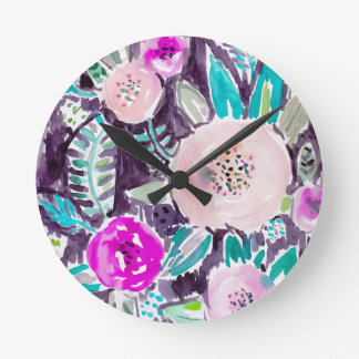 Gardens of Rockridge Painterly Watercolor Floral Round Clock