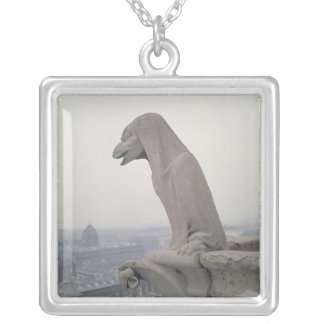Gargoyle on the balustrade of the Grande Silver Plated Necklace