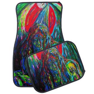Gargoyle Sci Fi Winged Creature Oil Paint Colorful Car Mat