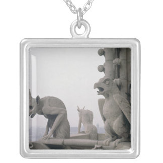 Gargoyles on the balustrade of the Grande Silver Plated Necklace