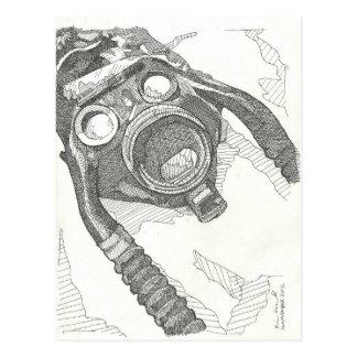 Gas mask drawing series postcard