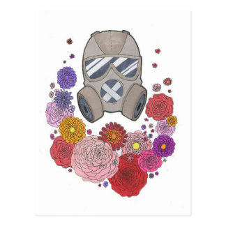 Gasmask&flowers Postcard