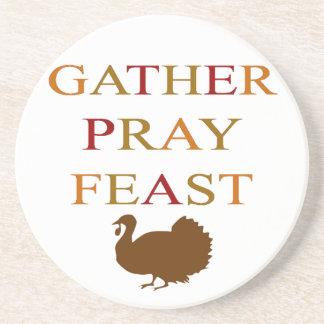 Gather Pray Feast Thanksgiving Coasters