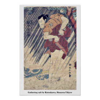 Gathering salt by Katsukawa, Shunsen Ukiyoe Poster