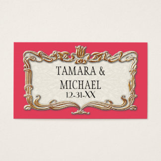 Gatsby Art Deco Nouveau Lace Faux Gold Tulip Business Card