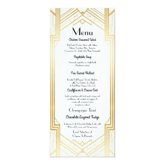 Gatsby Menu Wedding Reception 1920's Art Deco Card