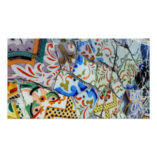 Gaudi's Park Guell Mosaic Tiles Poster