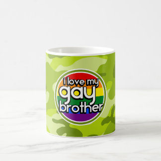 Gay Brother; bright green camo, camouflage Mug