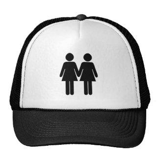 Gay couple (women) hand in hand mesh hat