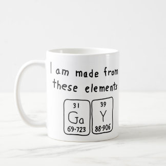 Gay periodic table name mug
