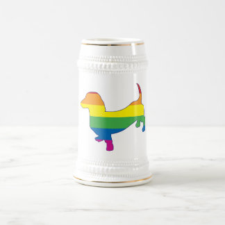 Gay Pride Dachshund/Wiener Beer Stein