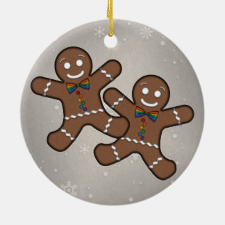 Gay Pride Gingerbread Couple Christmas Ornament