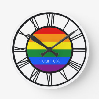 Gay Pride Rainbow Flag LGBT Personalised Round Clock