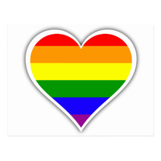 Gay pride rainbow heart postcard