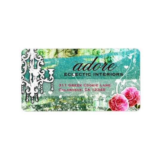 GC  Adore Vintage Turquoise Address Label