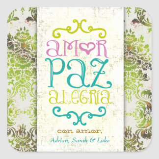 GC Amor Paz Alegria Damask Square Sticker