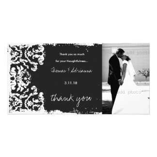 GC Charcoal Vintage 3 Damask Horizontal Thank U Custom Photo Card