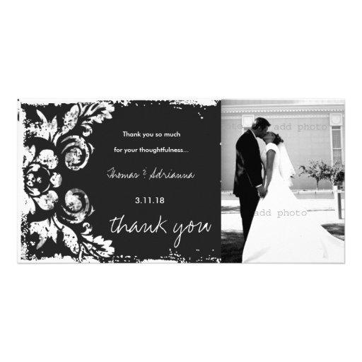 GC | Charcoal Vintage Damask Horizontal Thank You Photo Cards