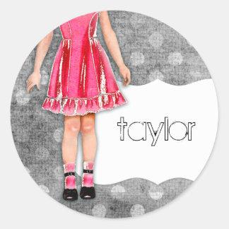 GC   Girly Girl Doll Hot Pink Classic Round Sticker