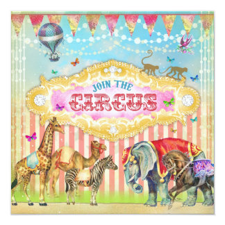 "GC Magical Join the Circus Vintage Stripes Invite 5.25"" Square Invitation Card"