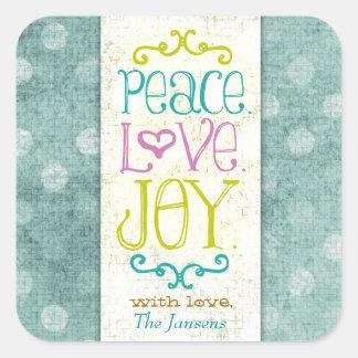 GC Peace Love and Joy Aqua Dots Square Stickers
