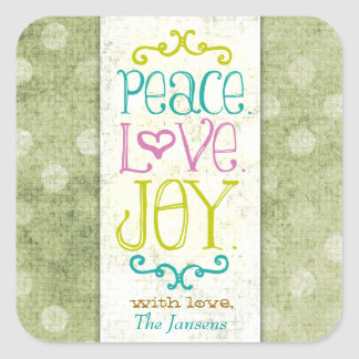 GC Peace Love and Joy Lime Dots Square Stickers