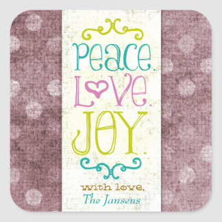 GC Peace Love and Joy Red Dots Square Sticker