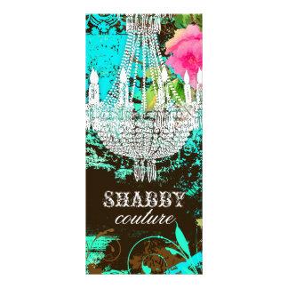 GC Shabby Aqua Garden Couture Chandelier Customised Rack Card