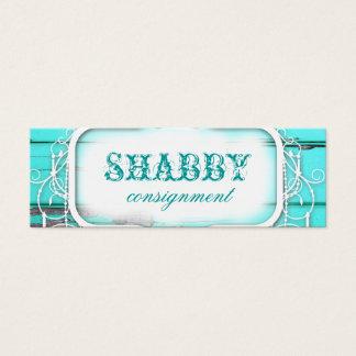 GC Shabby Vintage Aqua Wood Price Tag Mini Business Card