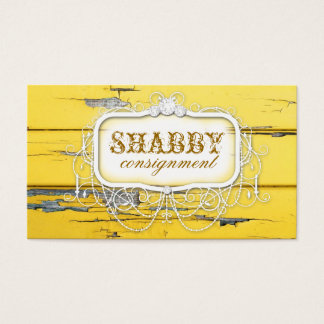GC Shabby Vintage Yellow Wood Business Card