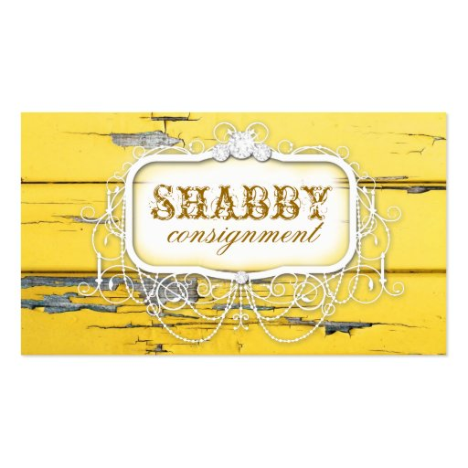 GC Shabby Vintage Yellow Wood Business Card Templates
