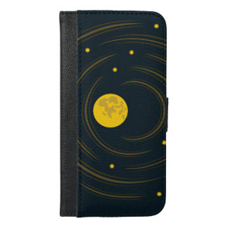 Geek Abstract Stars And Moon iPhone 6/6s Plus Wallet Case