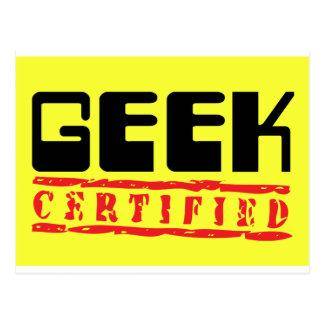 Geek certified yellow postcard