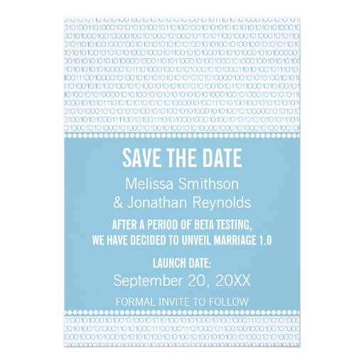 Geek Chic Binary Save the Date Invite, Blue