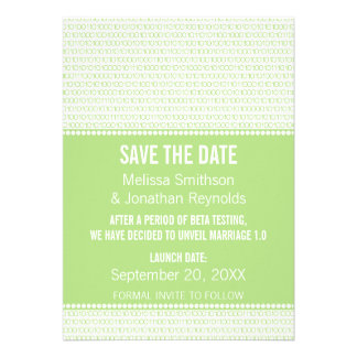 Geek Chic Binary Save the Date Invite Green