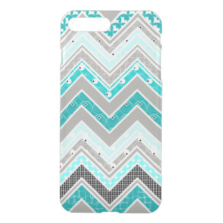 Geek Turquoise, Mint and White Chevron pattern