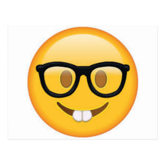 Geeky Emoji Smiley Face Postcard