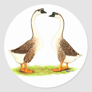 Geese:  Brown Chinese Classic Round Sticker